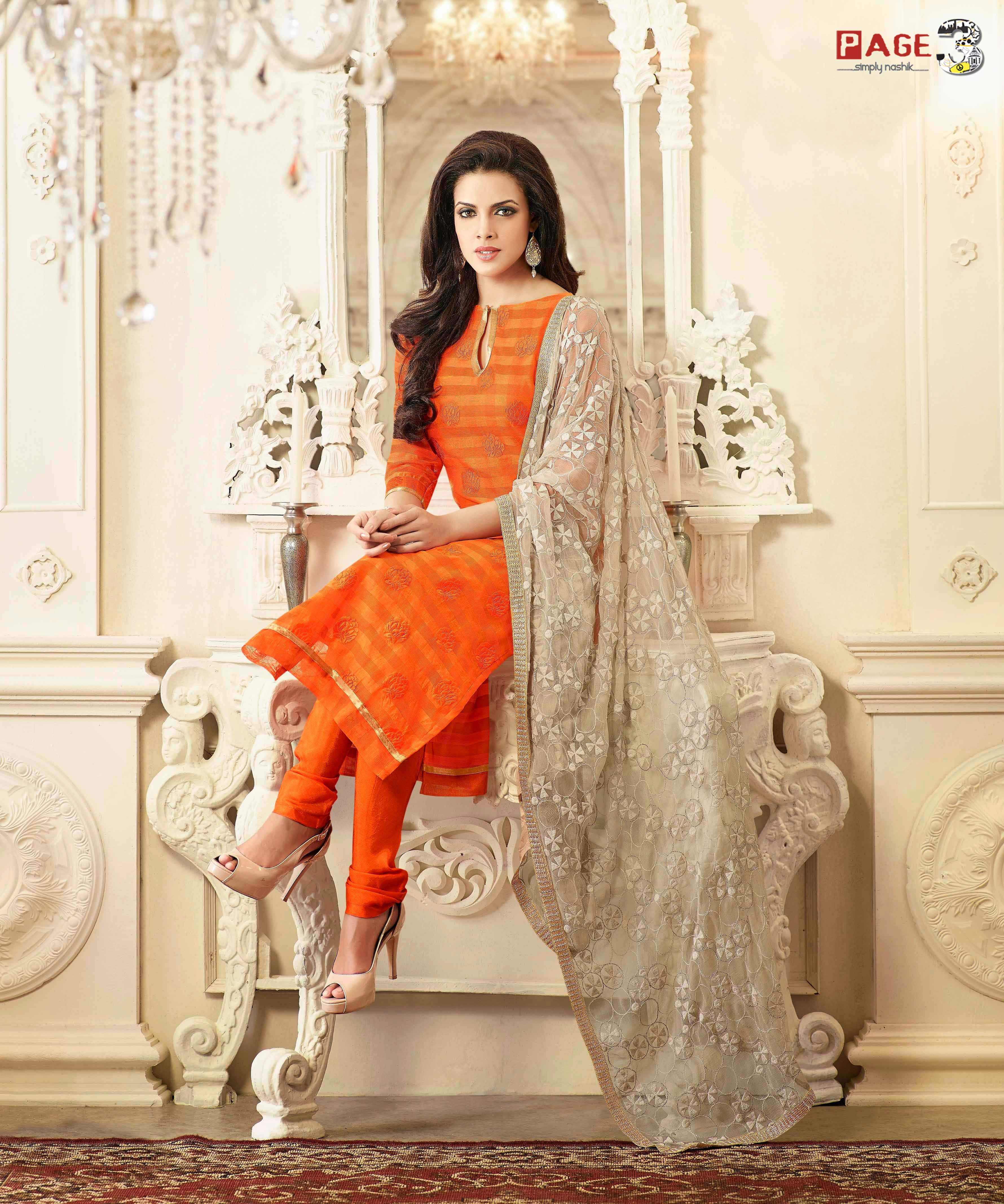 ORANGE CHANDERI COTTON SILK CASUAL SALWAR KAMEEZ - page3surat